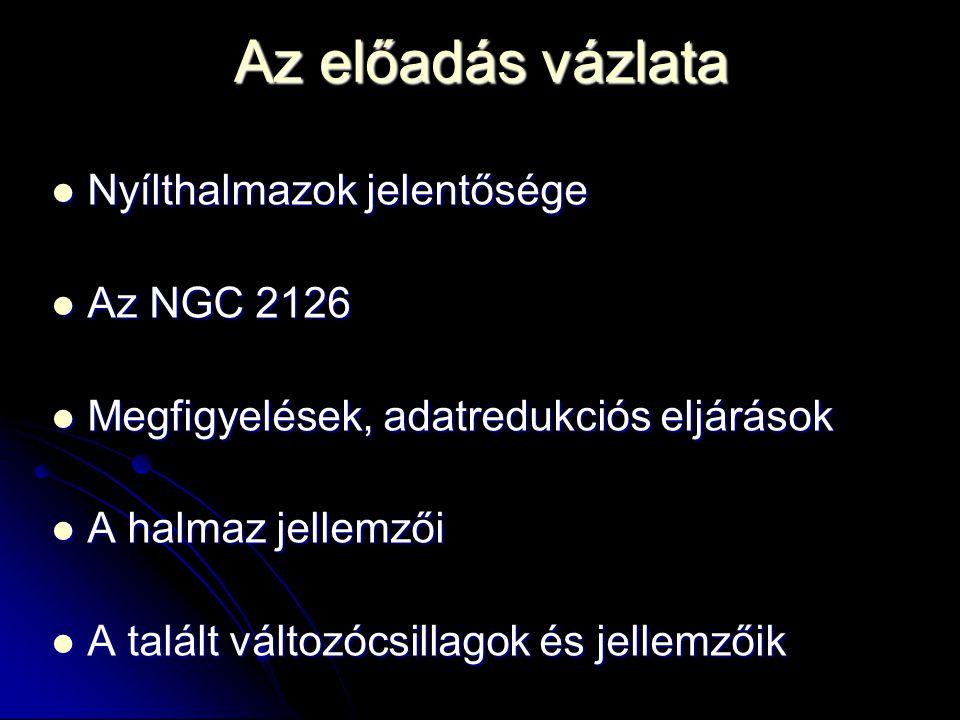 Az előadás vázlata Nyílthalmazok jelentősége Az NGC 2126