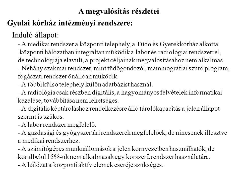 A megvalósítás részletei Gyulai kórház intézményi rendszere: