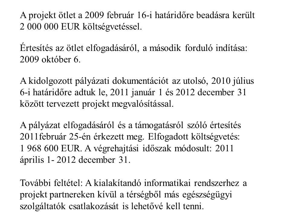 A projekt ötlet a 2009 február 16-i határidőre beadásra került 2 000 000 EUR költségvetéssel.