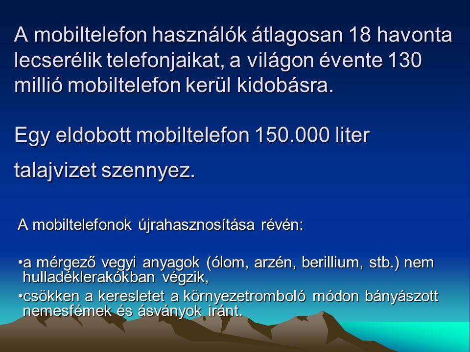 A mobiltelefon használók átlagosan 18 havonta lecserélik telefonjaikat, a világon évente 130 millió mobiltelefon kerül kidobásra. Egy eldobott mobiltelefon 150.000 liter talajvizet szennyez.