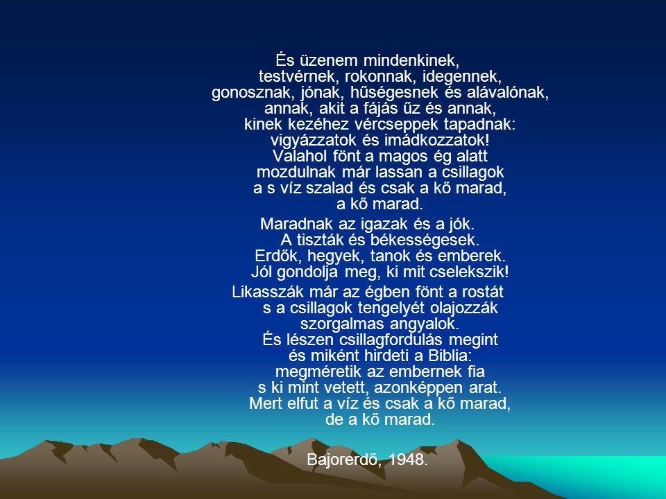 És üzenem mindenkinek, testvérnek, rokonnak, idegennek, gonosznak, jónak, hűségesnek és alávalónak, annak, akit a fájás űz és annak, kinek kezéhez vércseppek tapadnak: vigyázzatok és imádkozzatok! Valahol fönt a magos ég alatt mozdulnak már lassan a csillagok a s víz szalad és csak a kő marad, a kő marad.