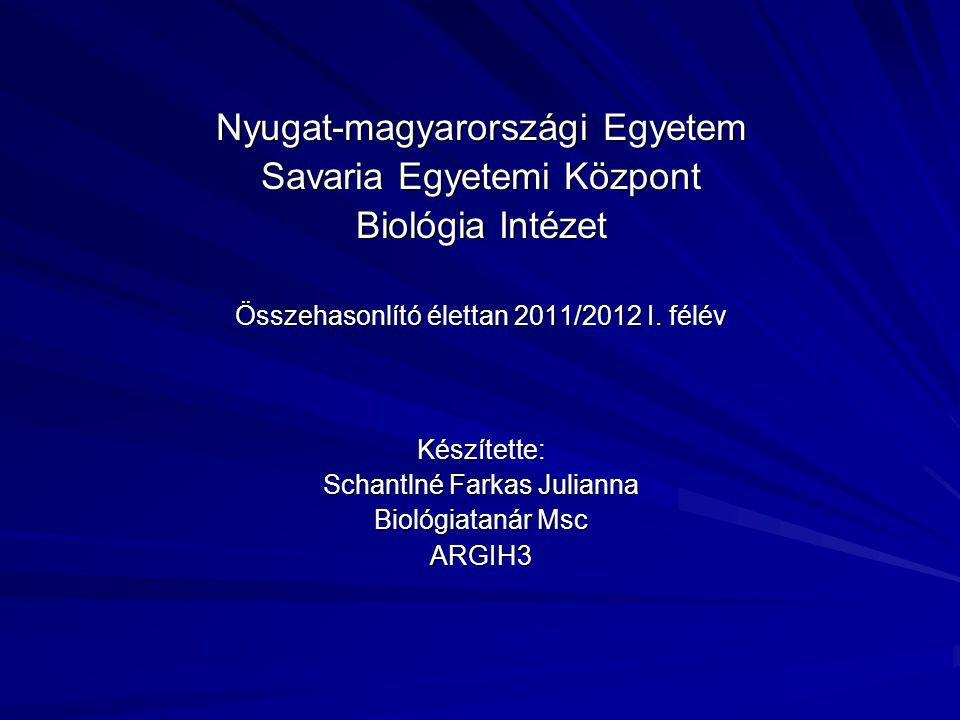Nyugat-magyarországi Egyetem Savaria Egyetemi Központ Biológia Intézet