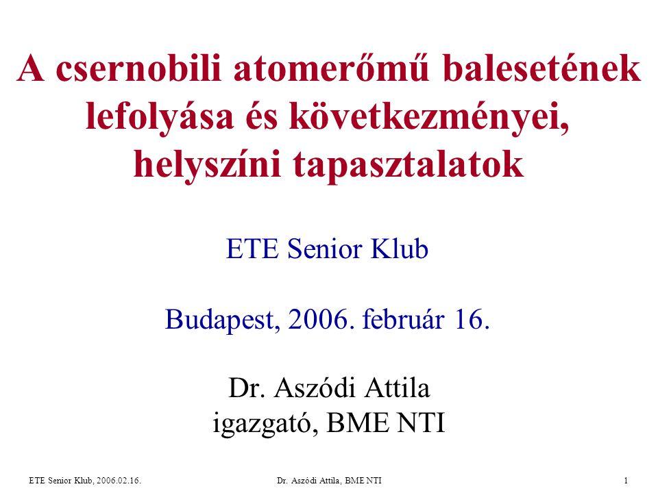 Dr. Aszódi Attila igazgató, BME NTI