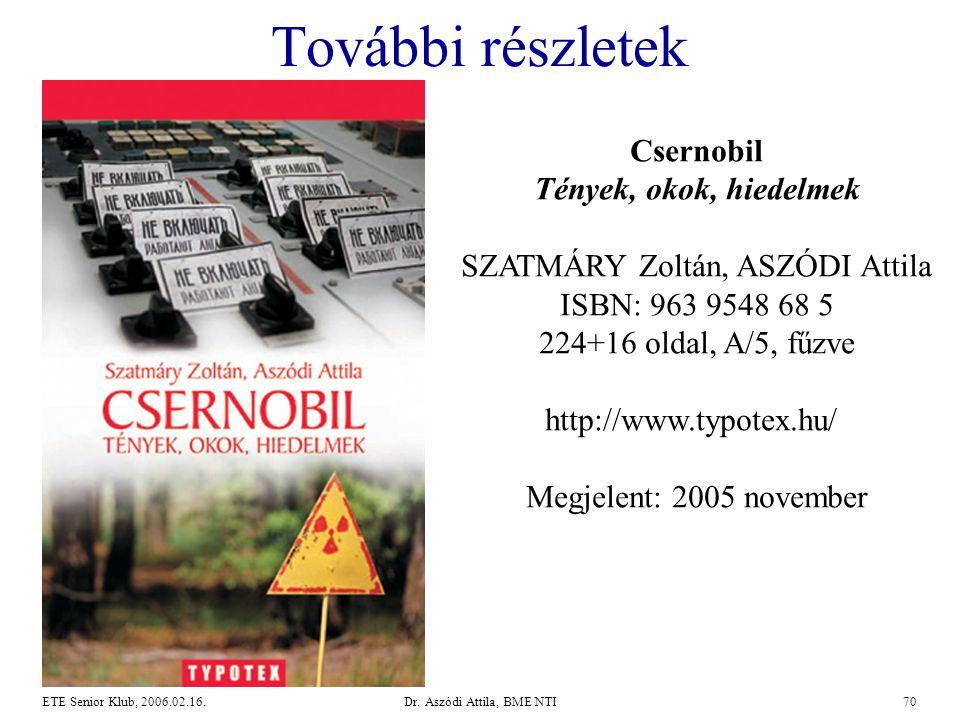 További részletek Csernobil Tények, okok, hiedelmek SZATMÁRY Zoltán, ASZÓDI Attila. ISBN: 963 9548 68 5 224+16 oldal, A/5, fűzve.