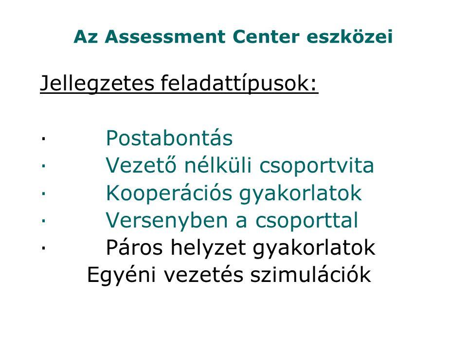 Az Assessment Center eszközei