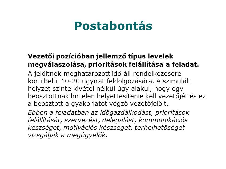 Postabontás Vezetői pozícióban jellemző típus levelek megválaszolása, prioritások felállítása a feladat.