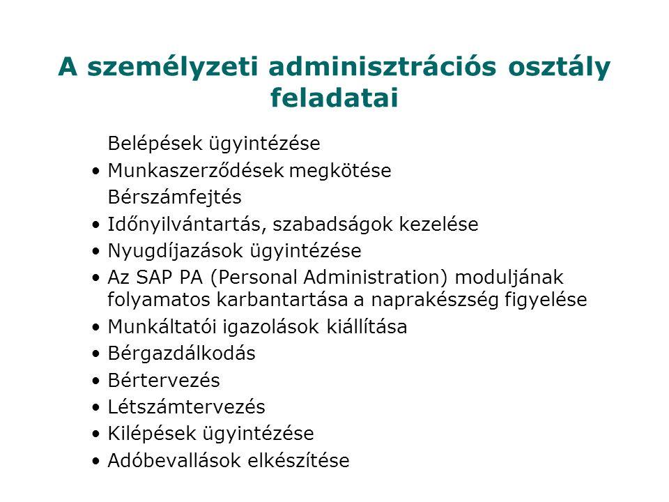 A személyzeti adminisztrációs osztály feladatai