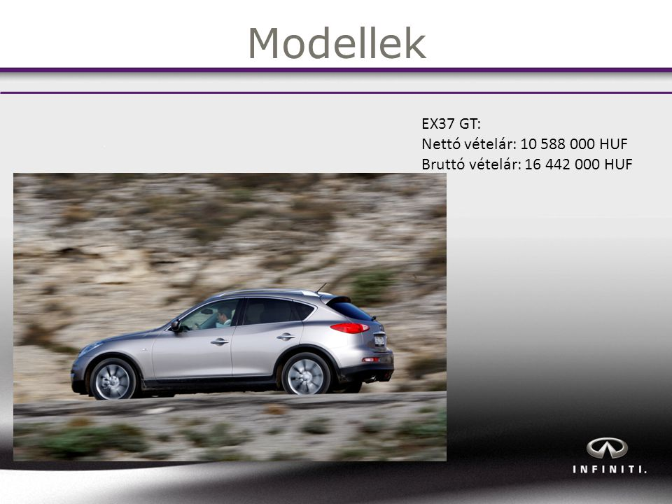 Modellek EX37 GT: Nettó vételár: 10 588 000 HUF