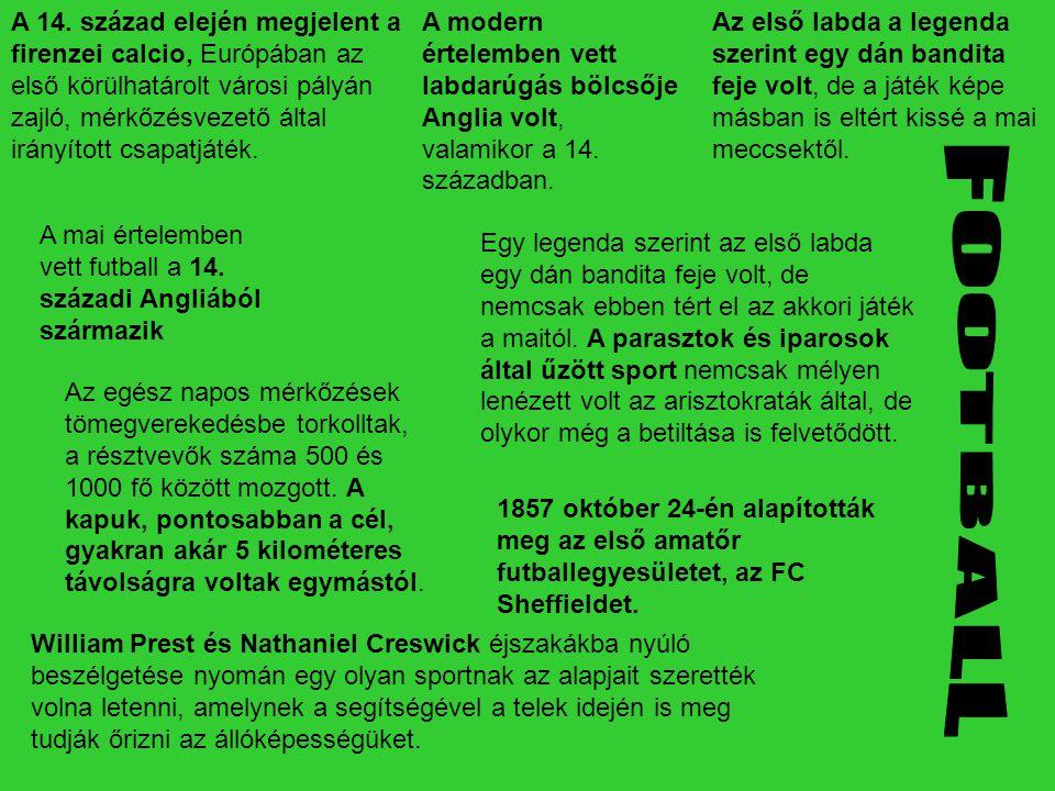 A mai értelemben vett futball a 14. századi Angliából származik