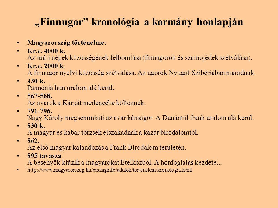 """""""Finnugor kronológia a kormány honlapján"""