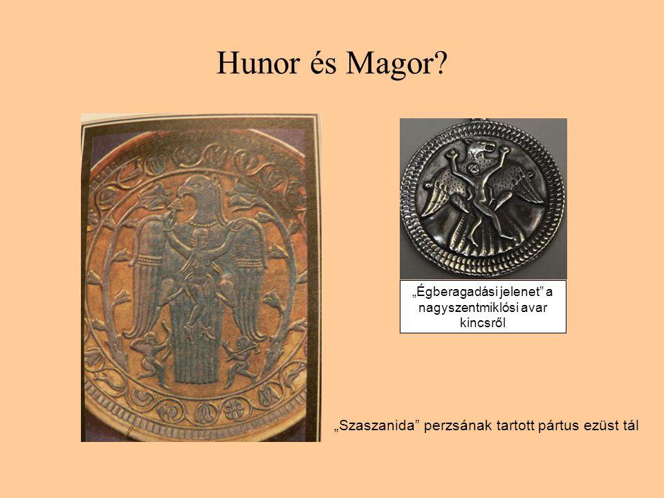 """Hunor és Magor """"Szaszanida perzsának tartott pártus ezüst tál"""