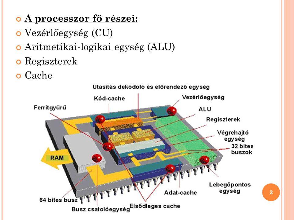 A processzor fő részei: