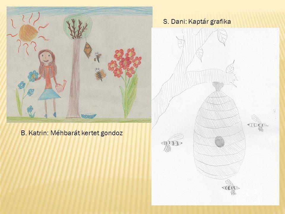 S. Dani: Kaptár grafika B. Katrin: Méhbarát kertet gondoz