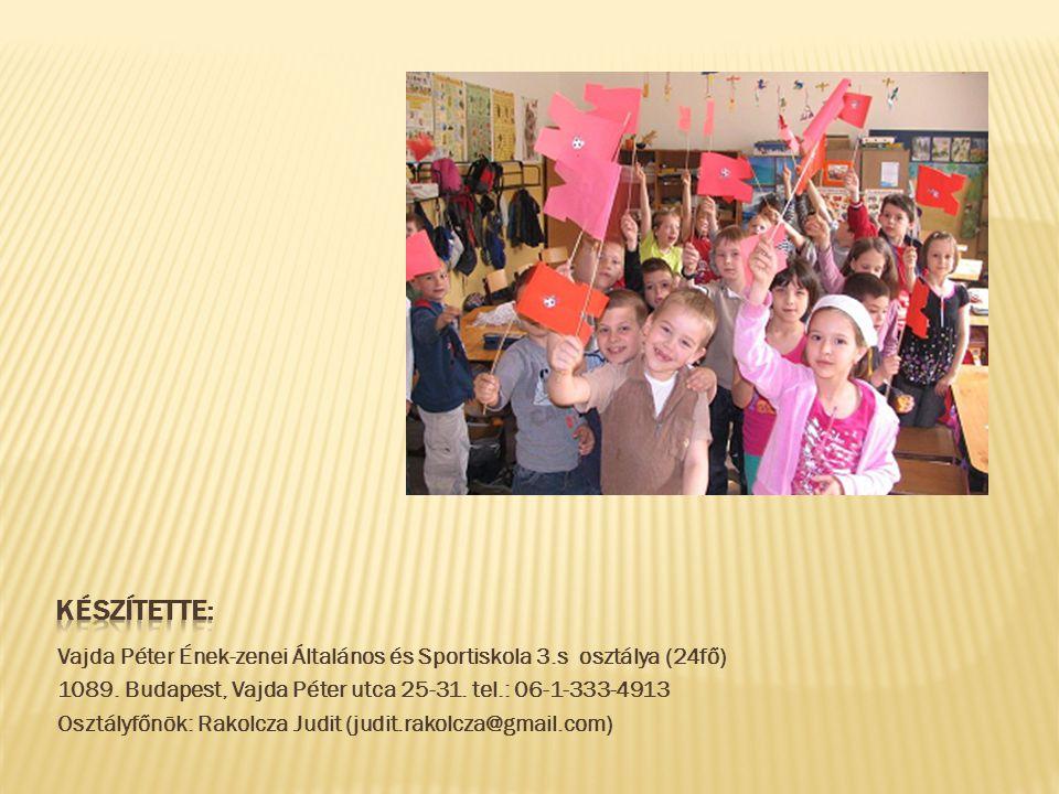 Készítette: Vajda Péter Ének-zenei Általános és Sportiskola 3.s osztálya (24fő) 1089. Budapest, Vajda Péter utca 25-31. tel.: 06-1-333-4913.