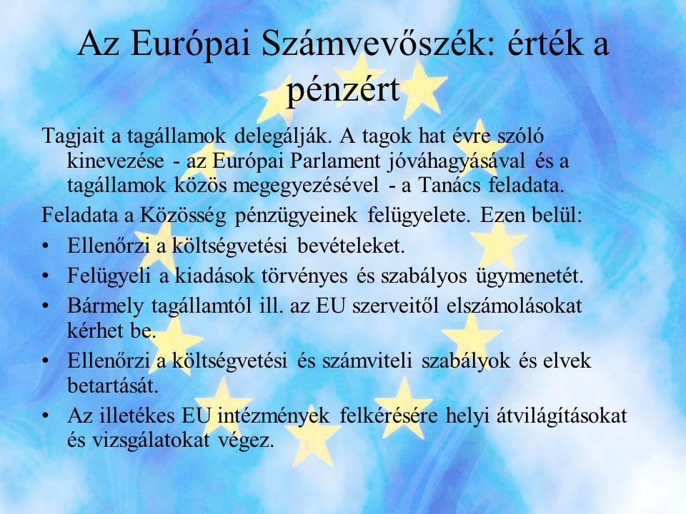 Az Európai Számvevőszék: érték a pénzért
