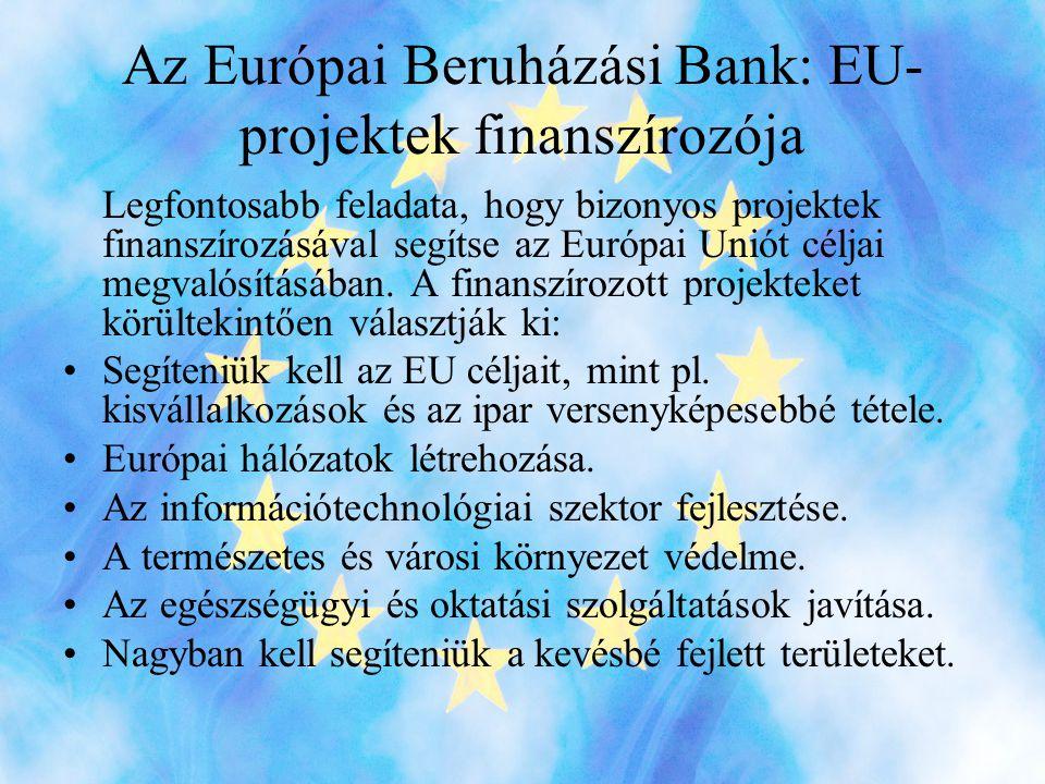 Az Európai Beruházási Bank: EU- projektek finanszírozója