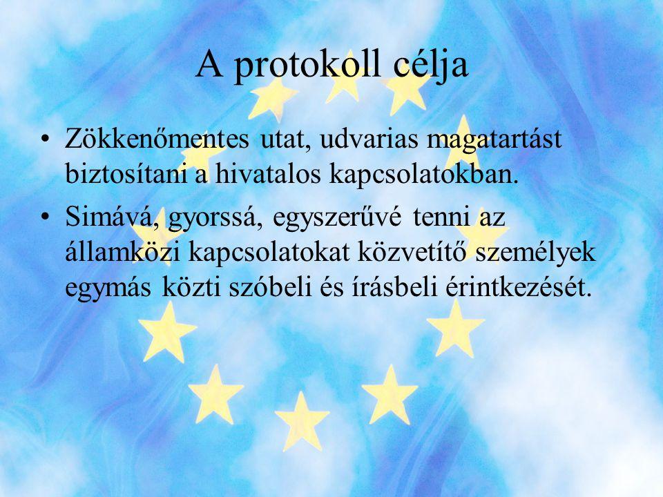 A protokoll célja Zökkenőmentes utat, udvarias magatartást biztosítani a hivatalos kapcsolatokban.