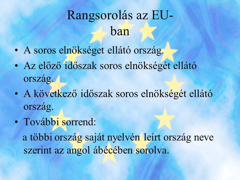 Rangsorolás az EU- ban A soros elnökséget ellátó ország.