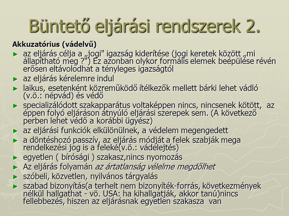 Büntető eljárási rendszerek 2.