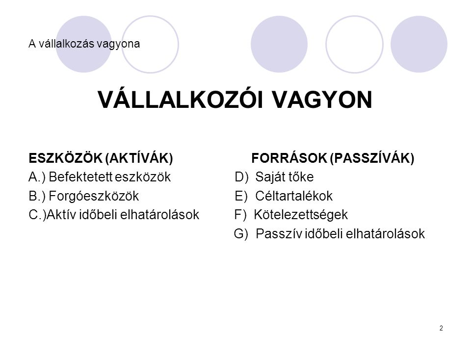 VÁLLALKOZÓI VAGYON ESZKÖZÖK (AKTÍVÁK) FORRÁSOK (PASSZÍVÁK)