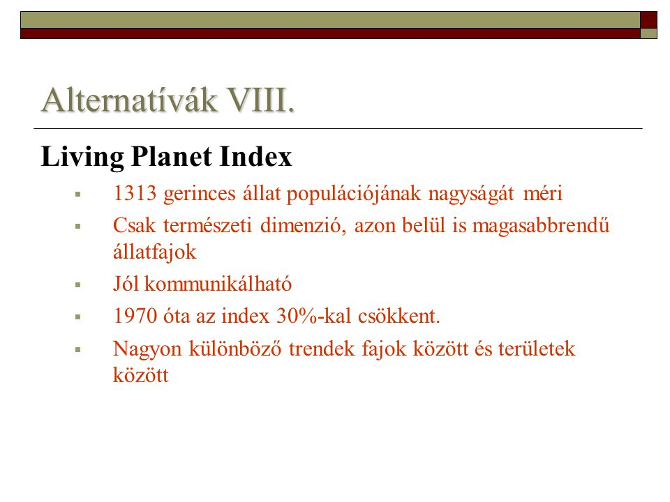 Alternatívák VIII. Living Planet Index