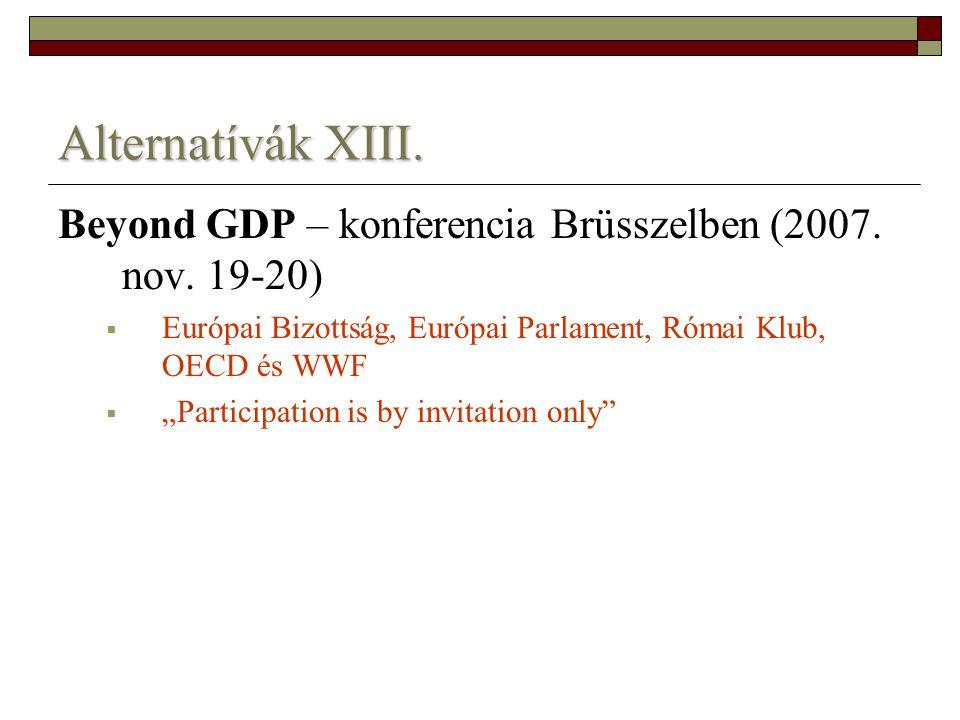 Alternatívák XIII. Beyond GDP – konferencia Brüsszelben (2007. nov. 19-20) Európai Bizottság, Európai Parlament, Római Klub, OECD és WWF.