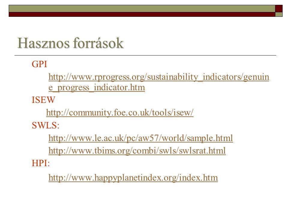 Hasznos források http://www.happyplanetindex.org/index.htm GPI