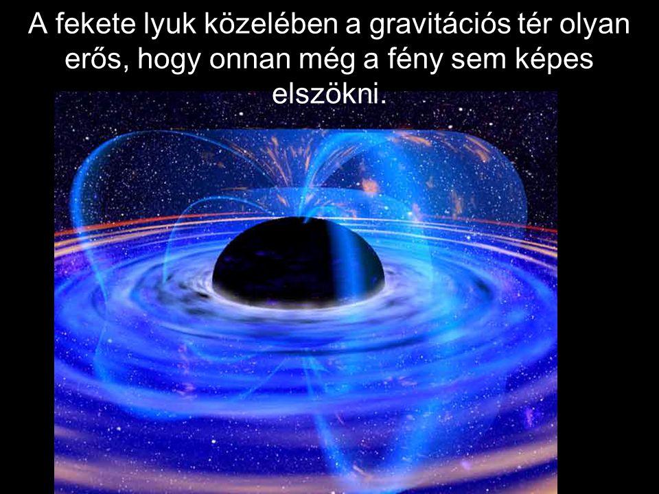 A fekete lyuk közelében a gravitációs tér olyan erős, hogy onnan még a fény sem képes elszökni.