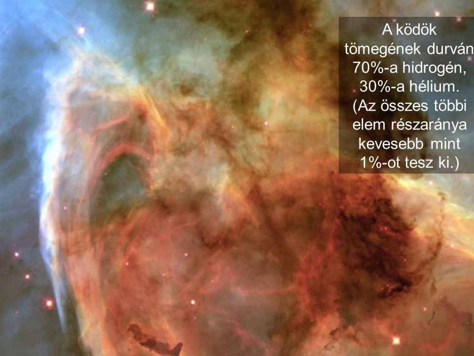 A ködök tömegének durván 70%-a hidrogén, 30%-a hélium