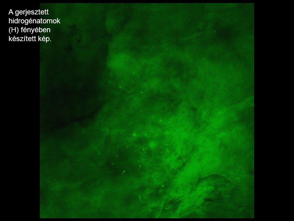 A gerjesztett hidrogénatomok (H) fényében készített kép.