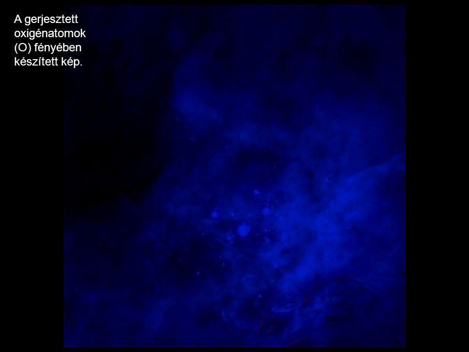 A gerjesztett oxigénatomok (O) fényében készített kép.