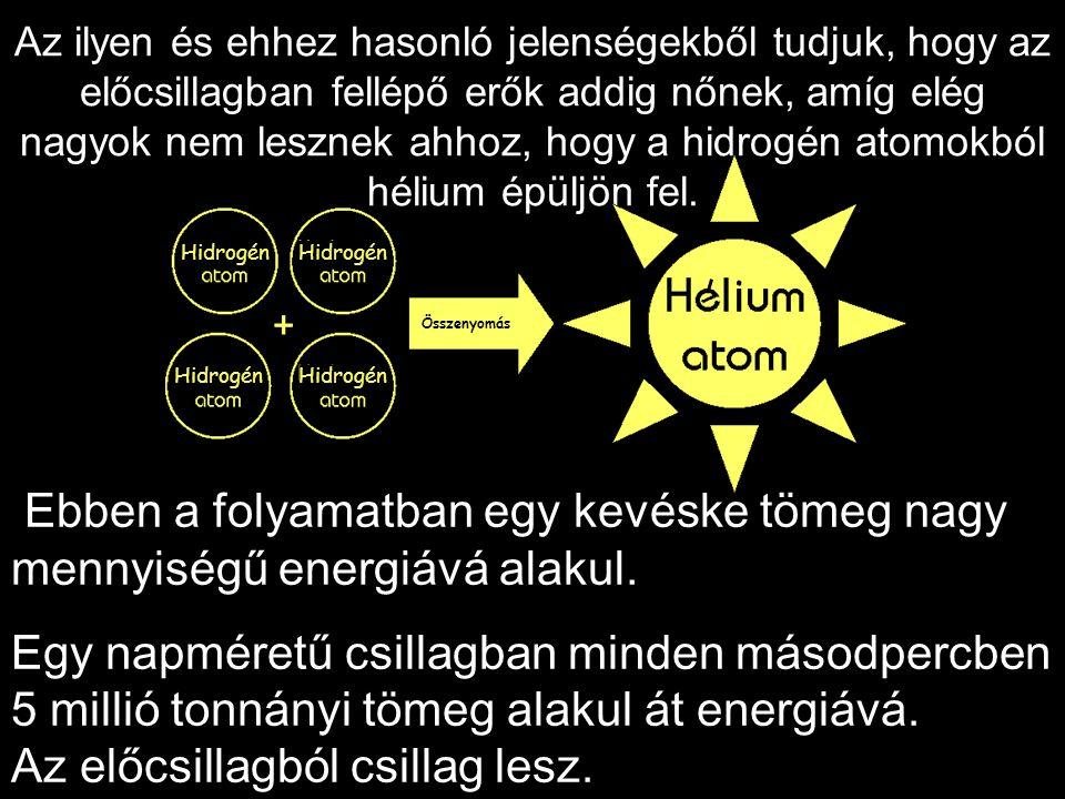 Az ilyen és ehhez hasonló jelenségekből tudjuk, hogy az előcsillagban fellépő erők addig nőnek, amíg elég nagyok nem lesznek ahhoz, hogy a hidrogén atomokból hélium épüljön fel.