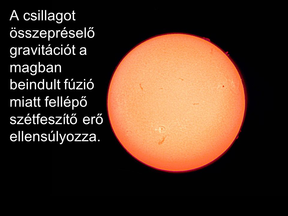 A csillagot összepréselő gravitációt a magban beindult fúzió miatt fellépő szétfeszítő erő ellensúlyozza.