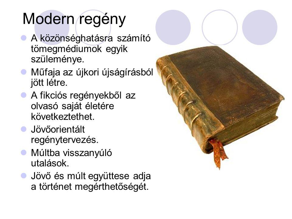 Modern regény A közönséghatásra számító tömegmédiumok egyik szüleménye. Műfaja az újkori újságírásból jött létre.