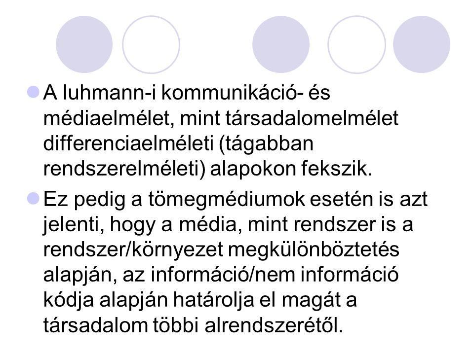 A luhmann-i kommunikáció- és médiaelmélet, mint társadalomelmélet differenciaelméleti (tágabban rendszerelméleti) alapokon fekszik.