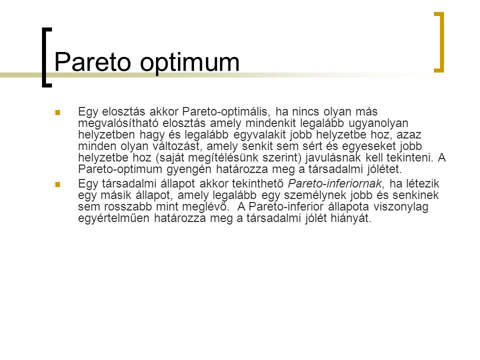 Pareto optimum