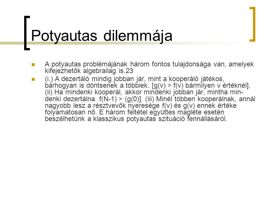 Potyautas dilemmája A potyautas problémájának három fontos tulajdonsága van, amelyek kifejezhetők algebrailag is.23.