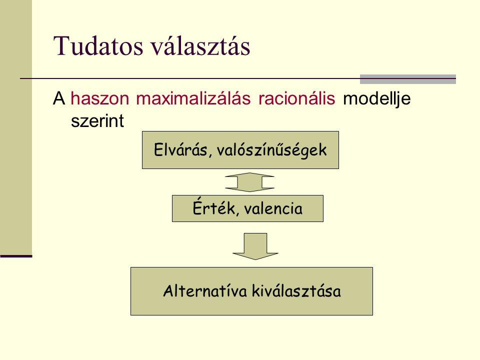 Tudatos választás A haszon maximalizálás racionális modellje szerint