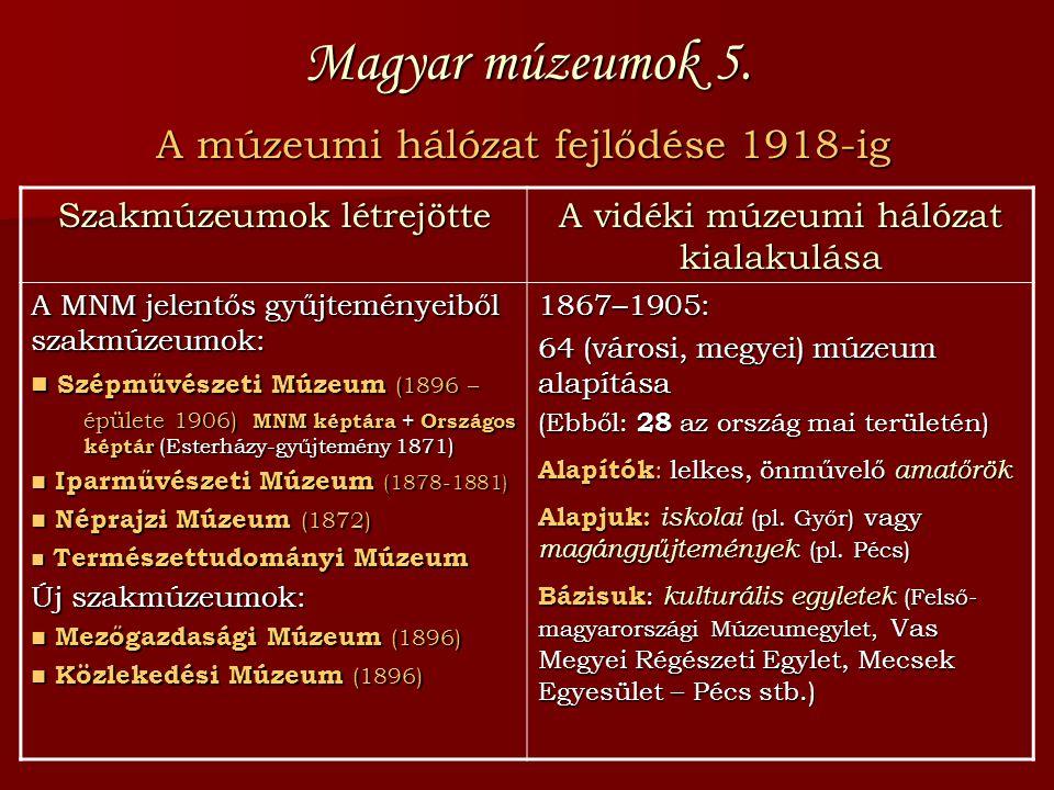 Magyar múzeumok 5. A múzeumi hálózat fejlődése 1918-ig