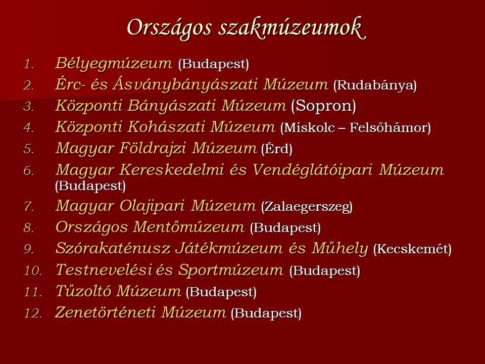 Országos szakmúzeumok