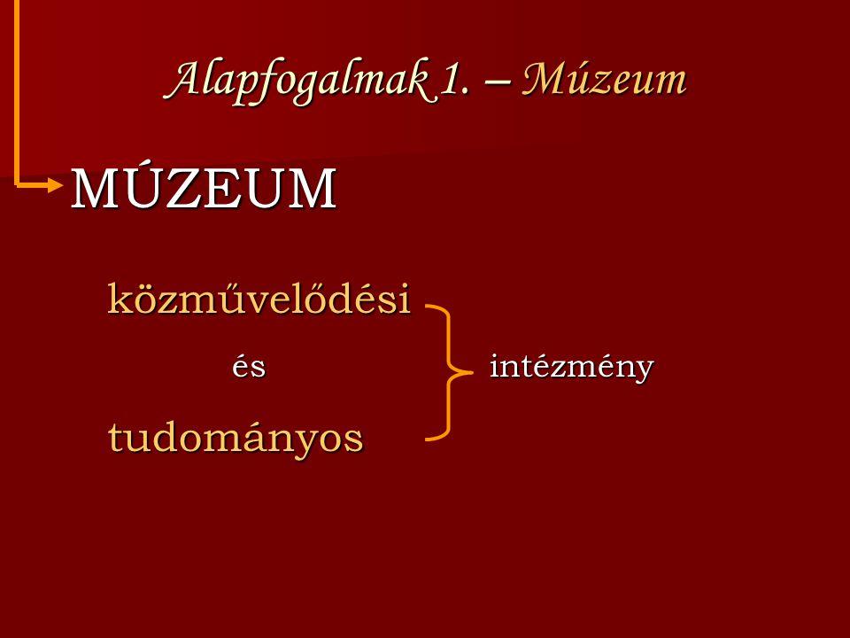 Alapfogalmak 1. – Múzeum MÚZEUM közművelődési és intézmény tudományos