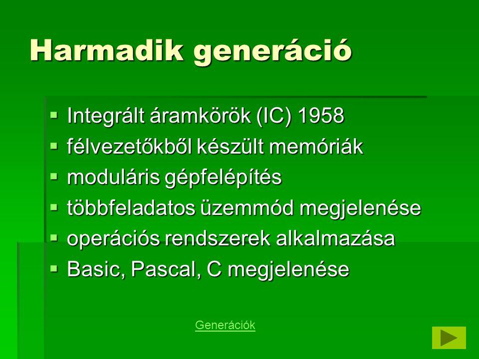 Harmadik generáció Integrált áramkörök (IC) 1958
