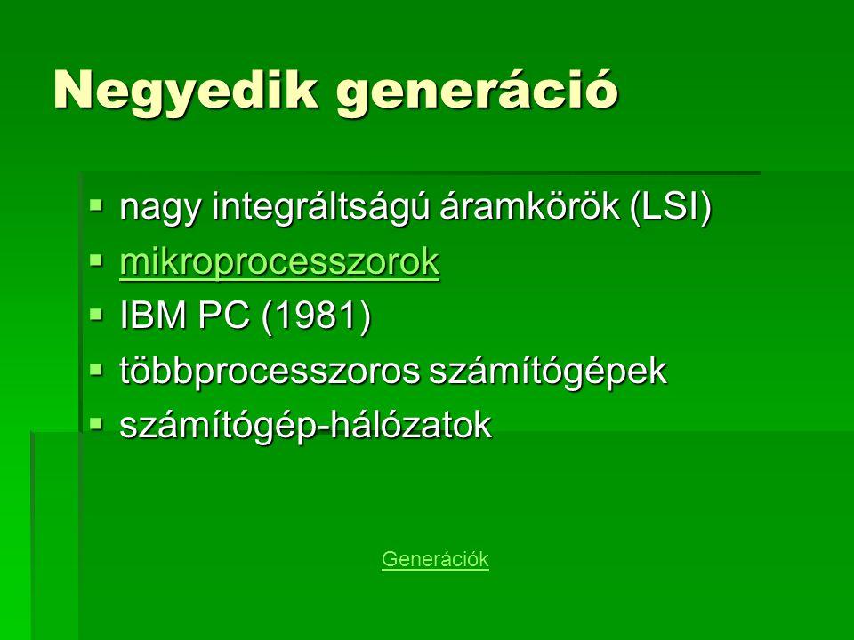 Negyedik generáció nagy integráltságú áramkörök (LSI)