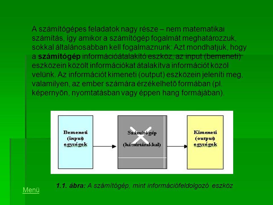 1.1. ábra: A számítógép, mint információfeldolgozó eszköz