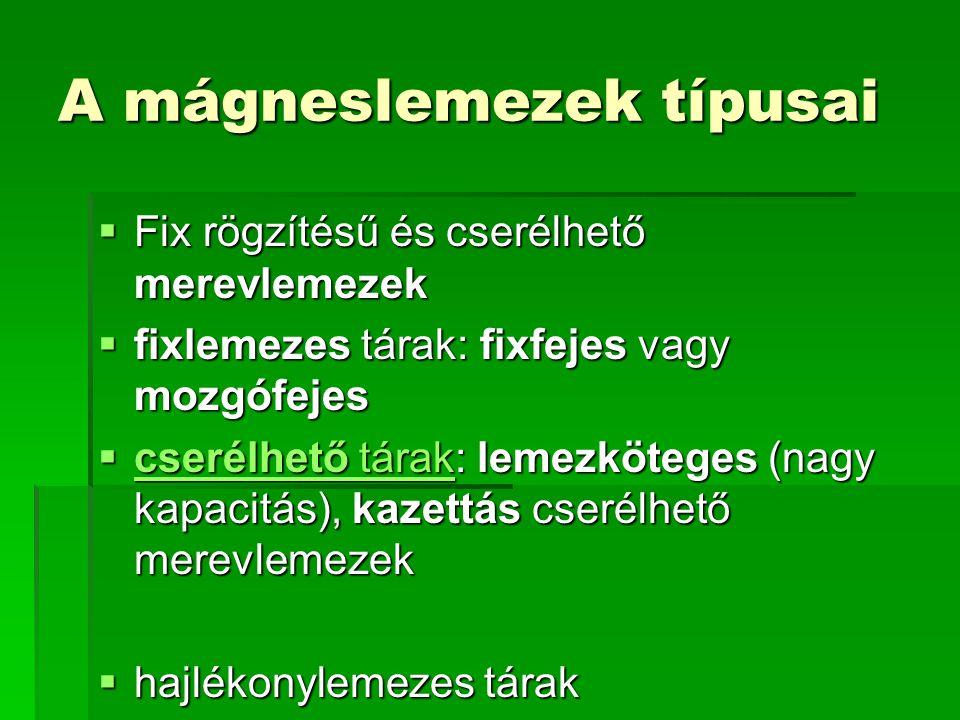 A mágneslemezek típusai