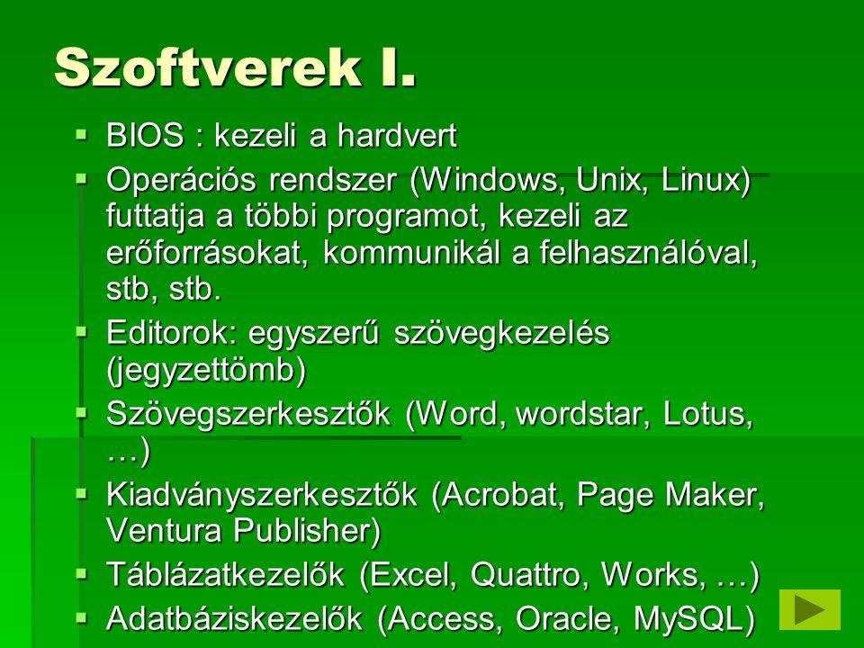Szoftverek I. BIOS : kezeli a hardvert