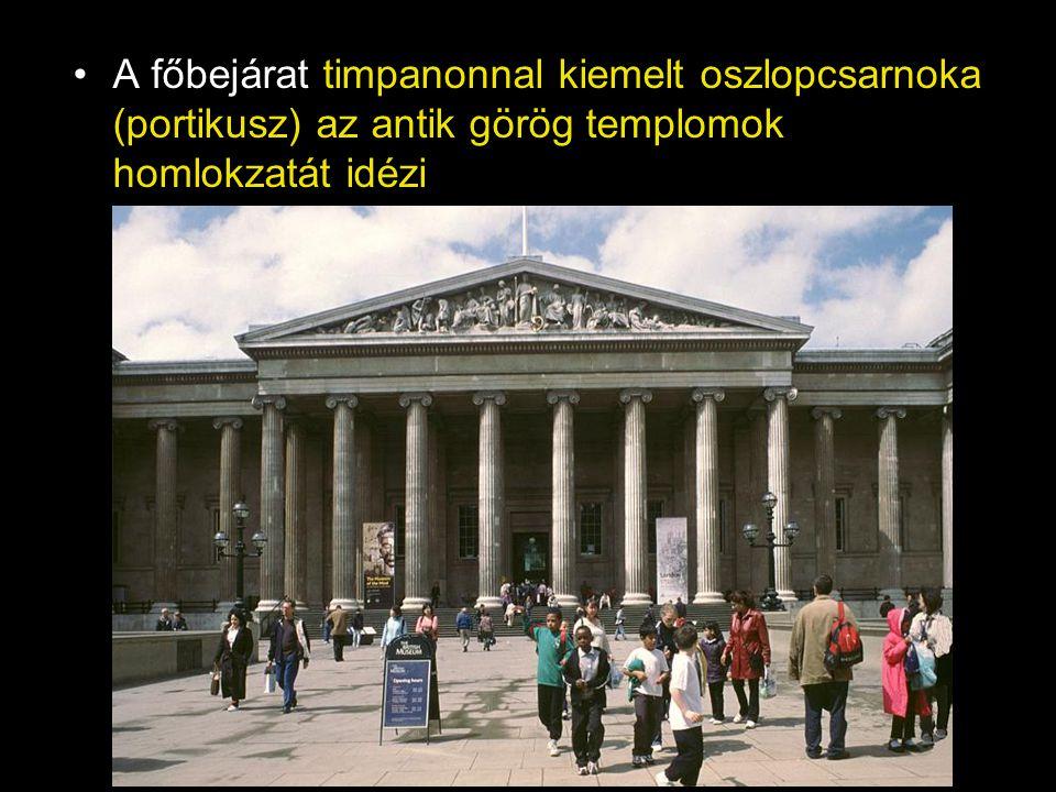 A főbejárat timpanonnal kiemelt oszlopcsarnoka (portikusz) az antik görög templomok homlokzatát idézi