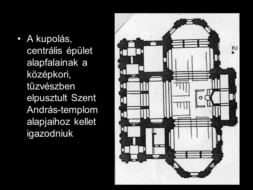A kupolás, centrális épület alapfalainak a középkori, tűzvészben elpusztult Szent András-templom alapjaihoz kellet igazodniuk
