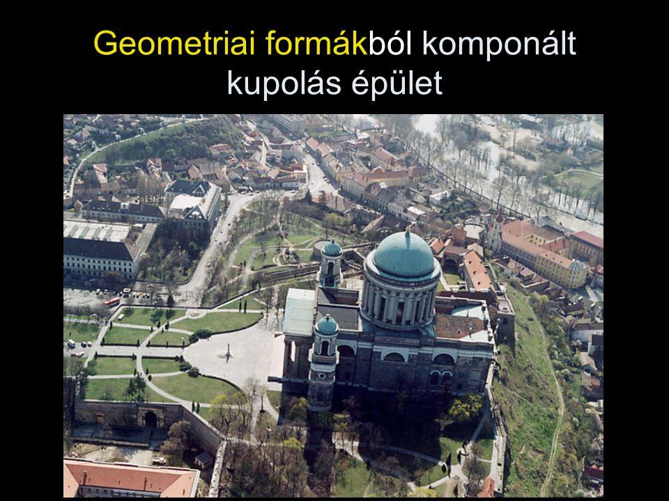 Geometriai formákból komponált kupolás épület