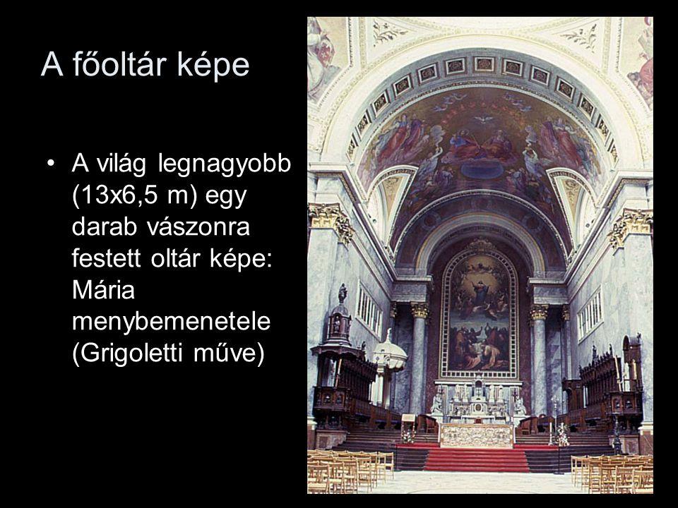 A főoltár képe A világ legnagyobb (13x6,5 m) egy darab vászonra festett oltár képe: Mária menybemenetele (Grigoletti műve)